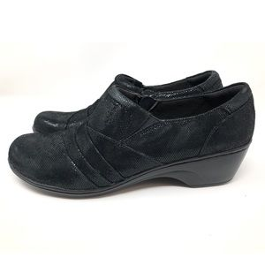 Clarks Black Shiny Comfort Clogs with Zipper Sz12